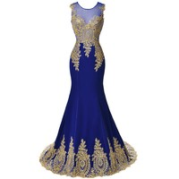 2017 New Design Gold Embroidery Mermaid Evening Dresses Black Blue Lace Evening Gowns Patterns Formal dress Long Prom Dresses
