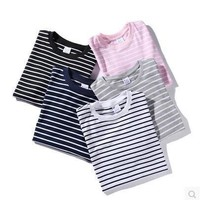Simple Design Stripes Round-neck Couple Short Sleeve T-shirts [10269441159]