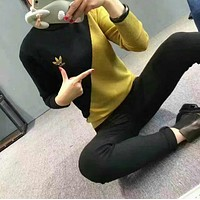 """""""Adidas"""" Women's Fashion Knitting Black/Yellow Long-sleeves Pullover Tops Sweater"""