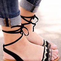 Women's Sandals Flat Beaded Strap Lace Up Gladiator Sandal Shoes New