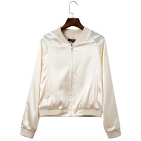 New Fashion Wild Sequined Pure Color Bomber Jacket Slim Long Sleeves Zippers Silk Satin Outwear Spring Autumn Coat