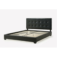 Queen size Dark Brown Faux Leather Platform Bed Frame with Headboard