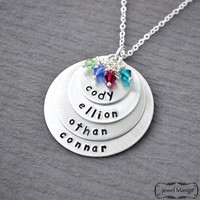 Mother Necklace mom of 4 Personalized necklace mommy necklace 4 kids name birthstones four kids children, name plates, mother gifts, granny