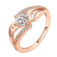 Rose Gold Plated Crystal Jewel Center Ring