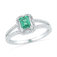 Sterling Silver Womens Emerald Lab-Created Emerald Solitaire Diamond Split-shank Ring 1-1/2 Cttw