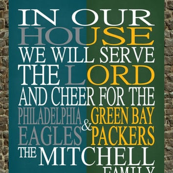 A House Divided - Philadelphia Eagles & Green Bay Packers personalized family poster Christian gift sports art - multiple sizes
