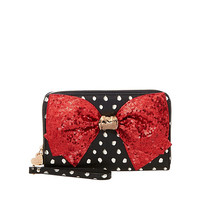 BOW-LESQUE SEQUIN LARGE WALLET: Betsey Johnson