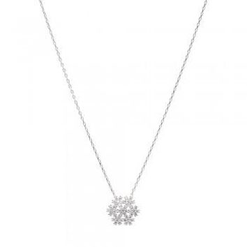Sterling Silver Small CZ Snowflake Necklace