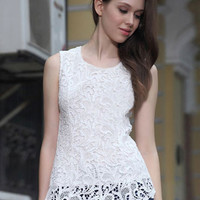 'The Kellan' Assymetric Lace Chiffon Top
