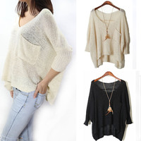 Hollow Out Knit Tops Round-neck Pullover Sweater Batwing Sleeve Blouse [9108918087]