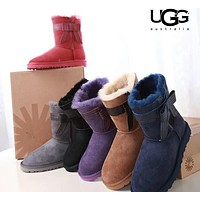 UGG oversized side bow female snow boots shoes