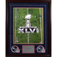 New York Giants Team Signed 16x20 Super Bowl XLVI 2011 Trophy Champions Photo 2 Elite Framed