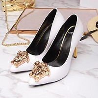 Versace Trending Women Stylish Pure Color Leather Stiletto Heel Pointed High Heels White I13174-1