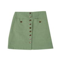 Button-Front Patch Pocket Mini Skirt