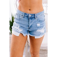 Met Your Match Frayed High Rise Denim Shorts (Light)
