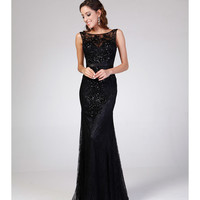 Black Lace Sequin & Embellished Gown 2015 Prom Dresses