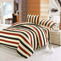 Colored Stripe Pattern Duvet Cover Pattern 4 Pieces Bedding Set (Without Comforter)