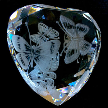Butterfly heart, love, glass, gift, red, romance, bespoke, personalized, etched, paperweight, bridal, wedding, rosenthal heart Paperweight
