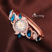 Newest HOT Fashion Opal Crystal Geneva Quartz  Watches 18K Rose Gold plated Jewelry For Women Wristwatch