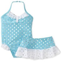 Baby Bunz Girls' Foil Dot Swimsuit With Skirt
