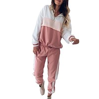 SFIT Pink Patchwork Two Piece Set Outfit Women 2019 Autumn Hooded  Jacket Set