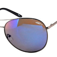 Oxen Revolution 93004 Sports Sunglasses with Aviator Lens and Multi-Layer Mirror Coating for Men and Women (Gun w/ Smoke/Blue)