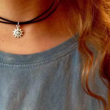 Adjustable Double Wrapped Choker/ Black Cord Choker Necklace/ Flower Sun Charm