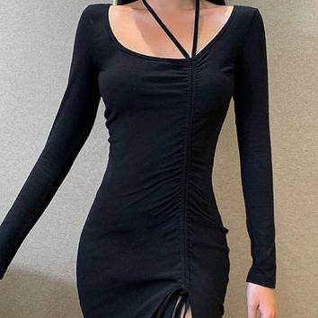 New Slim Long Sleeve Halter Side Drawstring Slim Skirt