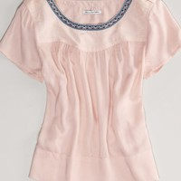 AEO Women's Embroidered Voile Top (Blush)