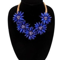 Sapphire and Gold Multi Strand Flower Necklace