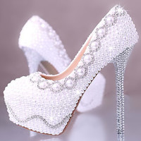 Pearl And Rhinestone Covered High Heels,Unique Bling Crystal, Pearl Wedding Shoes Bridal Shoes