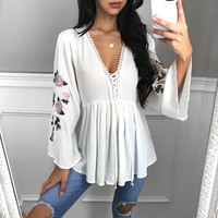MEDIUM & LARGE LEFT - Whitney Rose Chiffon Top