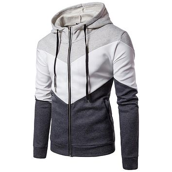 Men's Color Blocking Hooded Cardigan Long Sleeve Sweaters