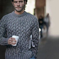 handknitted cable stitch sweaters, Aran Men Sweater, knit men sweater in  Pure Merino wool,  made to order sweater by cosediisa