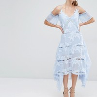 Self Portrait Floral Embroidered Midi Dress at asos.com