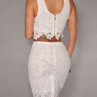 Sleeveless Lace Cropped Top and Crochet Lace Bodycon Skirt Set
