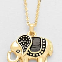 Tribal Elephant Pendant Necklace - Gold
