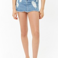 Distressed Frayed Denim Skirt