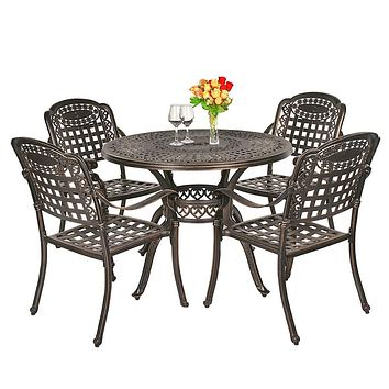 TITIMO 5-Piece Outdoor Furniture Dining Set, All-Weather Cast Aluminum Conversation Set Includes 4 Chairs and 1 Round Table with Umbrella Hole for Patio Garden Deck, Lattice Design 1 Round Table + 4 Chairs without Cushion