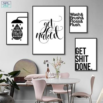 SPLSPL Bathroom Fun Words Nordic Decorative Painting Creative Black and White Canvas Art Print Poster Wall Picture Without Frame