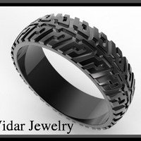 Black Gold Tire Tread Men's Wedding Ring