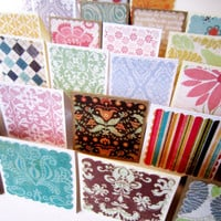 Mini Blank Note Cards / Mini Thank You Enclosures / Square Gift Tags / Assorted Patterns  / Set of 20