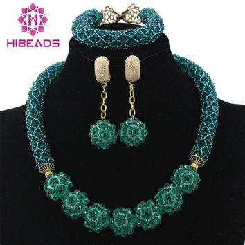 Glamorous Teal Green Wedding African Beads Jewelry Set Chunky Necklace Ball Chain Earrings Beads Set Free Shipping WD228