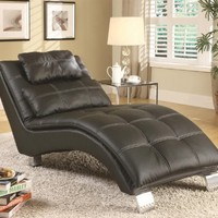 Coaster Home Furnishings 550075 Contemporary Chaise, Black