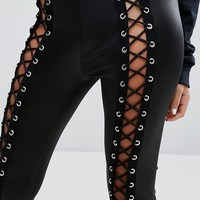 Bones Leggings With Lace Up Front at asos.com