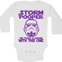 Storm Pooper The Force Is Strong With This One -  Newborn Baby Bodysuits