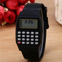 OUTAD 3 Colors Practical Children Calculator Digital Sport Watch Solid Color Silicone Comfortable Wear Calculator Wrist Watches