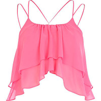 Bright pink double layered cami crop top - crop tops / bralets / bandeau tops - tops - women