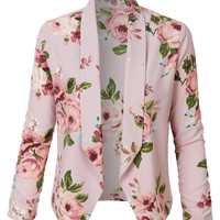 LE3NO Womens Ultra Lightweight Floral 3/4 Sleeve Open Front Cardigan Blazer