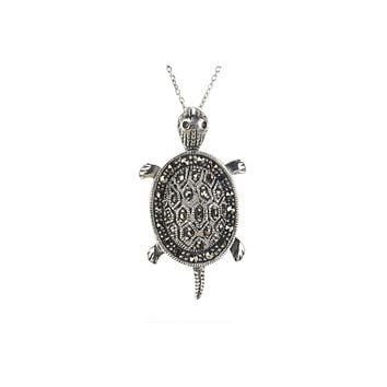"""Turtle Marcasite Necklace 18"""" Chain .925 Sterling Silver"""